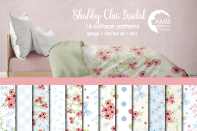 Shabby Chic Bridal Surface Patterns, Pink Floral Papers, AMB-1317