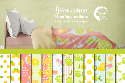 Green Lemon Surface Patterns, Lemonade Papers, AMB-1330