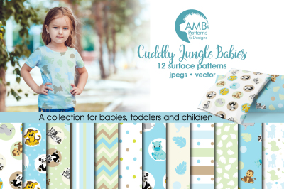 Jungle Babies Surface Patterns, Safari Papers, AMB-1334