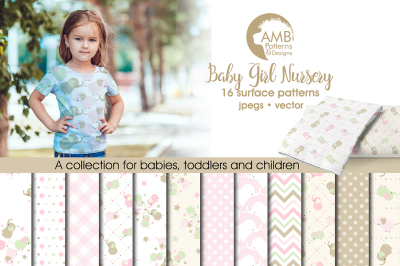 Baby Girl Nursery Surface Patterns, Elephant Papers, AMB-1368