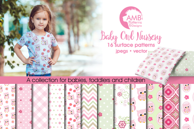 Baby Owl Nursery Surface Patterns, Baby Owl Papers, AMB-1369