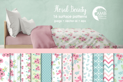Floral Beauty Surface Patterns, Floral Papers, AMB-1376
