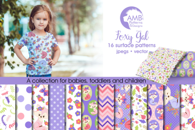 Foxy Girl Surface Patterns, Girl Fox Papers, AMB-1378
