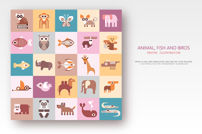 Animals, Fish and Birds set of flat vector icons