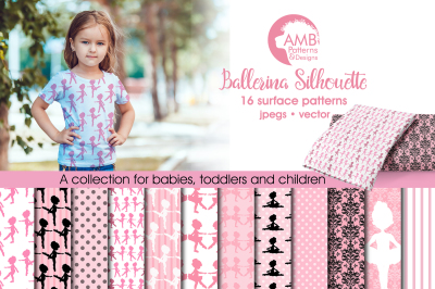 Ballerina Silhouette patterns, Ballerina Silhouette papers AMB-1585