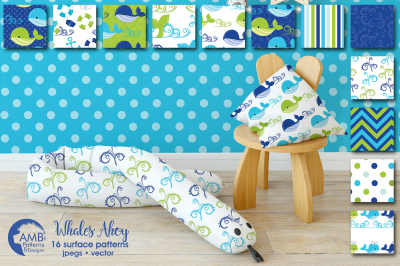 Whales Ahoy patterns, Nautical Boy papers AMB-1595