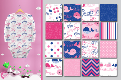 Pink Whales patterns, Nautical Girl papers AMB-1597