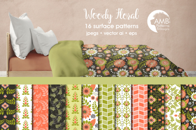 Woody Floral patterns, Floral papers AMB-1806