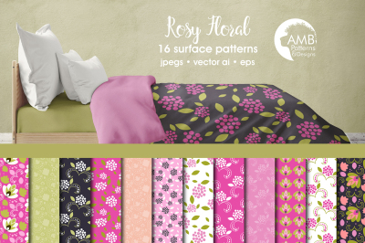 Rosy Floral patterns, Pink Floral papers AMB-1812
