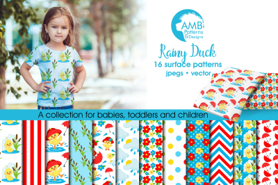 Rainy Duck patterns, Rainy Duck papers AMB-1824