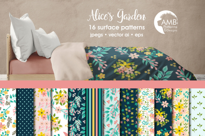 Alice's Garden patterns, Floral papers AMB-1834