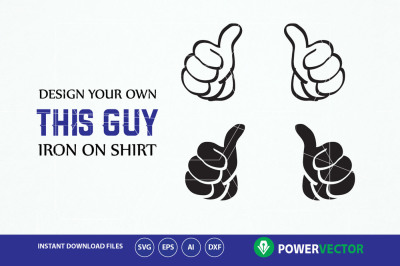 Double thumbs up svg, dxf, eps, png clip art