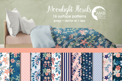 Moonlight Florals patterns, Floral papers AMB-1836