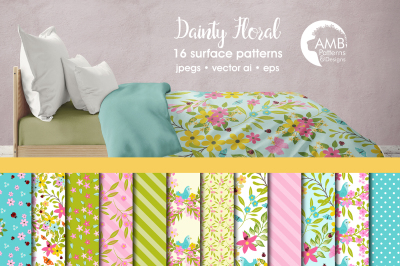 Dainty Floral patterns, Floral papers AMB-1838
