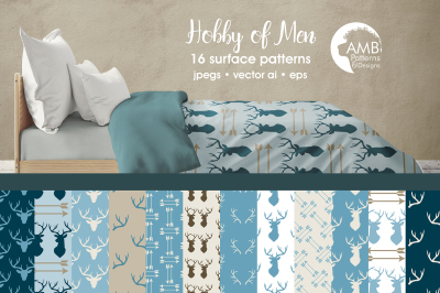 Hobby of Men patterns, Cabin Chic Blue papers AMB-1872