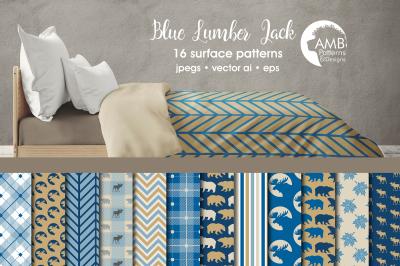 Blue Lumber Jack patterns, Blue Cabin Life papers AMB-1875
