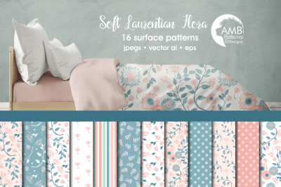 Soft Laurentian Floral Surface Patterns, Floral Papers, AMB-1405
