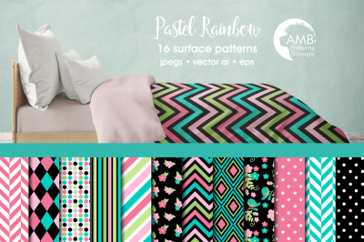 Pastel Rainbow patterns, Bright Floral Geo papers AMB-1923