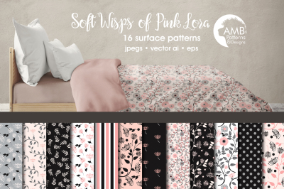 Soft Wisps of Pink Floral Patterns, Pink Floral Papers, AMB-1419
