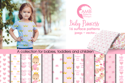 Baby Princess Surface Patterns, Baby Girl Papers, AMB-1436