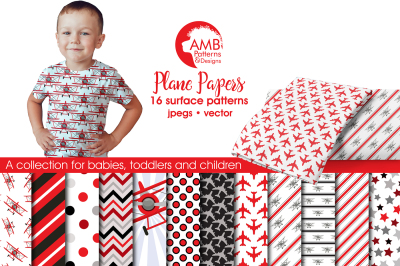 Plane patterns, Red Airplane papers AMB-1929