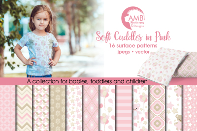 Soft Cuddles in PInk Surface Patterns, Pink Papers, AMB-1449