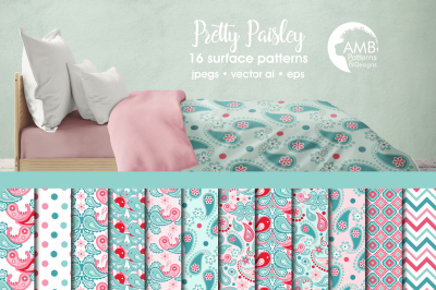 Pretty Paisley Surface Patterns, Paisley Papers, AMB-1456