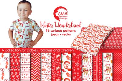 Winter Wonderland Surface Patterns, Christmas Papers, AMB-1511