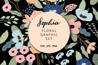 Sophia - Floral Graphic Set