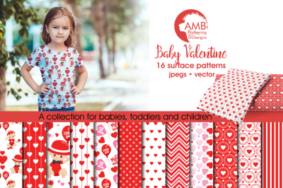 Baby Valentine Surface Patterns, Valentine Papers, AMB-1581