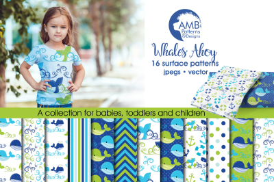 Whale Surface Patterns, Nautical Boy Papers, AMB-1595