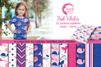 Pink Whales Surface Patterns, Nautical Girl Papers, AMB-1597