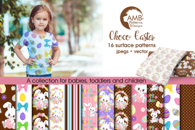 Choco Easter Surface Patterns, Easter Bunny Papers, AMB-1803