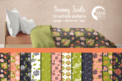 Sunny Trails Surface Patterns, Peach Floral Papers, AMB-1807