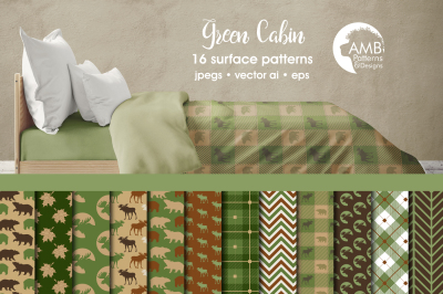 Green Cabin Surface Patterns, Green Cabin Papers, AMB-1876