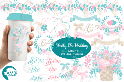 Shabby Chic Wedding cliparts, Wedding Floral cliparts AMB-1276
