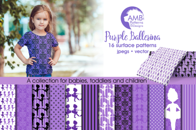 Purple Ballerina Surface Patterns, Purple Ballerina Papers, AMB-1949