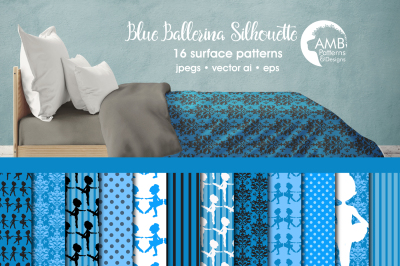 Blue Ballerina Surface Patterns, Blue Ballerina Papers, AMB-1950