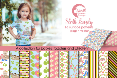 Sloth Family patterns, Family Sloth papers AMB-2207