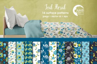 Teal Floral patterns AMB-2369