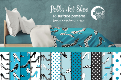 Polka Dot Shoe patterns, Blue Shoes papers AMB-2368