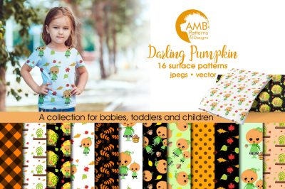 Pumpkin Surface Patterns, Halloween Papers, AMB-2262
