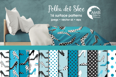 Polka Dot Shoes Surface Patterns, Blue Shoes Papers, AMB-2368