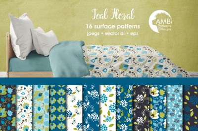 Teal Floral Patterns, Floral Papers, AMB-2369