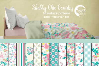 Shabby Chic Country Surface Patterns, Floral Papers, AMB-1322