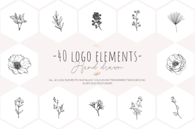 Hand drawn floral logo elements