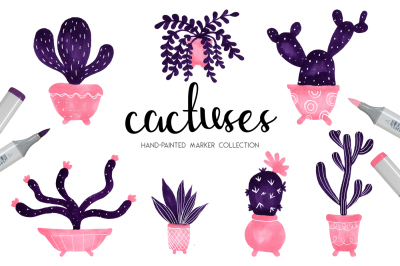 Cactuses hand-painted collection