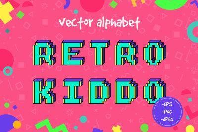 Retro kiddo vector alphabet
