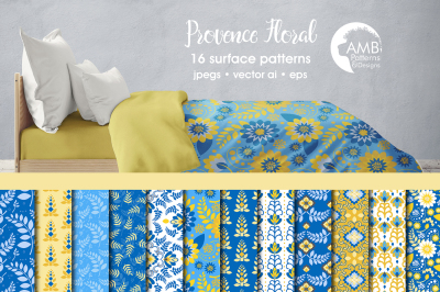 Provence Floral patterns, Blue Floral papers AMB-1813