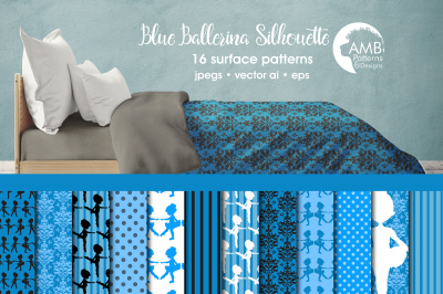 Blue Ballerina Silhouette patterns AMB-1950